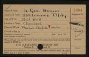 Entry card for Homer, H. George for the 1922 May Show.