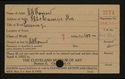 Entry card for Howard, Hugh Huntington for the 1922 May Show.