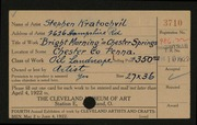 Entry card for Kratochvil, Stephen for the 1922 May Show.