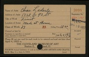 Entry card for Lederle, Charles for the 1922 May Show.
