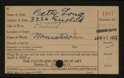 Entry card for Long, Elizabeth French for the 1922 May Show.