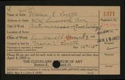 Entry card for Lovett, Maria E. for the 1922 May Show.