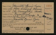 Entry card for Lyon, Jeanette Agnew for the 1922 May Show.