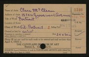 Entry card for McClean, Clara for the 1922 May Show.