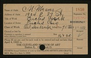Entry card for Means, C. N. for the 1922 May Show.