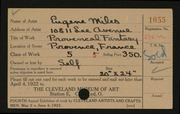 Entry card for Miles, Eugene R. for the 1922 May Show.