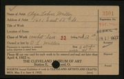 Entry card for Miller, Olga L. for the 1922 May Show.