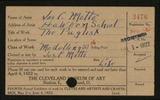 Entry card for Motto, Joseph C. for the 1922 May Show.