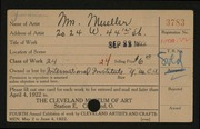Entry card for Mueller, Mrs. Ralph S. for the 1922 May Show.