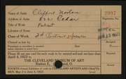Entry card for Norton, Clifford for the 1922 May Show.