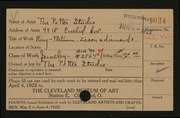 Entry card for Potter and Mellen , and Potter, Horace Ephraim; Burton, John S.; Steen, Grace A.; Potter, Florence Loomis; Kurz, Carl; Naukler, Henning; Lembke, Halford for the 1922 May Show.
