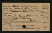 Entry card for Prettyman, Clyde for the 1922 May Show.