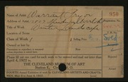 Entry card for Pryor, Warrant for the 1922 May Show.