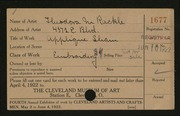 Entry card for Rackle, Theodora M. for the 1922 May Show.