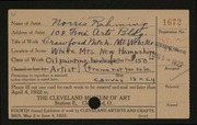 Entry card for Rahming, Norris for the 1922 May Show.