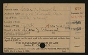 Entry card for Rausch, Stella J. for the 1922 May Show.