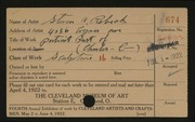 Entry card for Rebeck, Steven A. for the 1922 May Show.
