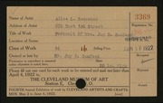 Entry card for Reuscher, Alice L. for the 1922 May Show.