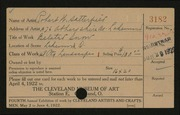 Entry card for Satterfield, Robert W. for the 1922 May Show.