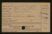 Entry card for Schauffler, Margaret Reynolds for the 1922 May Show.