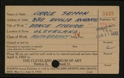 Entry card for Semon, Carle Edwin for the 1922 May Show.