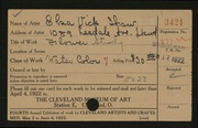 Entry card for Shaw, Elsa Vick for the 1922 May Show.