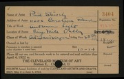 Entry card for Shively, Paul for the 1922 May Show.