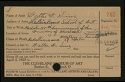Entry card for Sinz, Walter A., and Cleveland School of Art for the 1922 May Show.