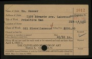 Entry card for Sommer, William for the 1922 May Show.