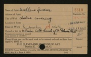 Entry card for Spodar, Josephine for the 1922 May Show.