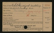 Entry card for Standiford-Mehling, Ethel for the 1922 May Show.