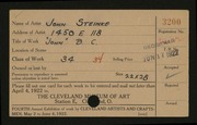 Entry card for Steinke, John for the 1922 May Show.