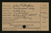 Entry card for Stephan, John F. for the 1922 May Show.