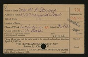 Entry card for Stevens, Mrs. M.L. for the 1922 May Show.