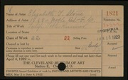 Entry card for Stone, Elizabeth T. for the 1922 May Show.