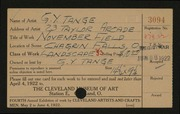 Entry card for Tange, G. Y. for the 1922 May Show.