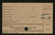 Entry card for Thomas, Charles Hardy for the 1922 May Show.