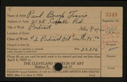 Entry card for Travis, Paul Bough for the 1922 May Show.