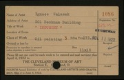 Entry card for Walasek, Ignace for the 1922 May Show.