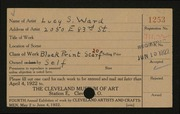 Entry card for Ward, Lucy S. for the 1922 May Show.