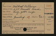 Entry card for Watkins, Mildred for the 1922 May Show.