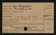 Entry card for Waytzitzka, Olga for the 1922 May Show.