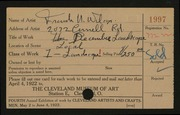 Entry card for Wilcox, Frank N. (Frank Nelson) for the 1922 May Show.