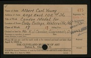 Entry card for Young, Albert Carl for the 1922 May Show.