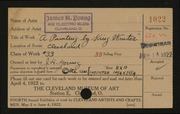 Entry card for Young, James H. for the 1922 May Show.