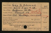 Entry card for Adomeit, George G. for the 1923 May Show.