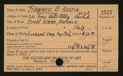 Entry card for Austin, Howard B. for the 1923 May Show.