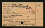 Entry card for Ayars, Alice A. for the 1923 May Show.
