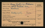Entry card for Bacon, Ann Anthony for the 1923 May Show.