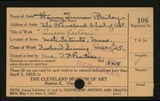 Entry card for Bailey, Henry Turner for the 1923 May Show.